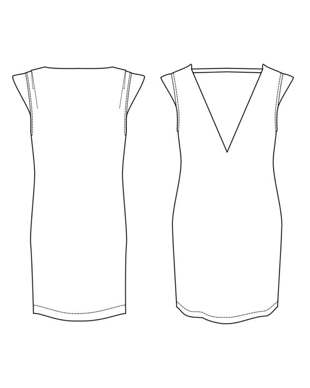 Orageuse robe Lisbonne - dessin technique devant/dos