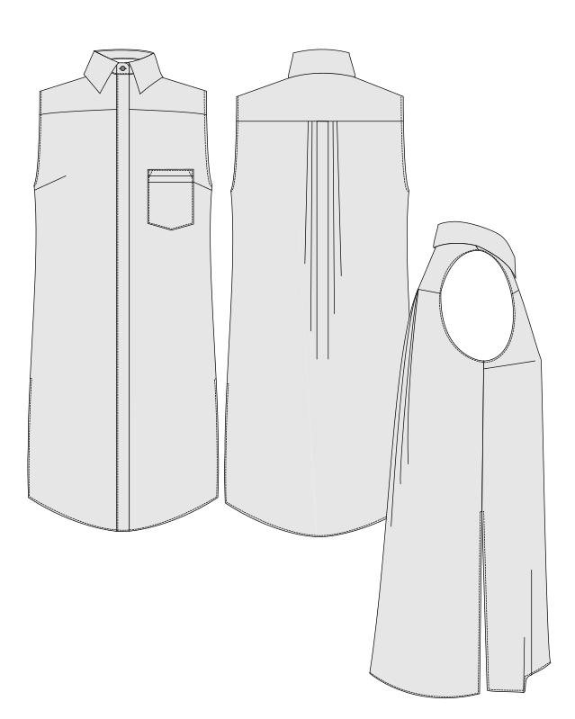 Orageuse, chemise Rome, version longue (robe ou tunique fendue), options : poche et dos plis religieuse